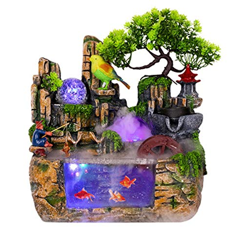 Table Fountain, Innovative Resin Desktop Fountain Aquarium Home Table Ornament Landscape Decoration Colorful Light For Home