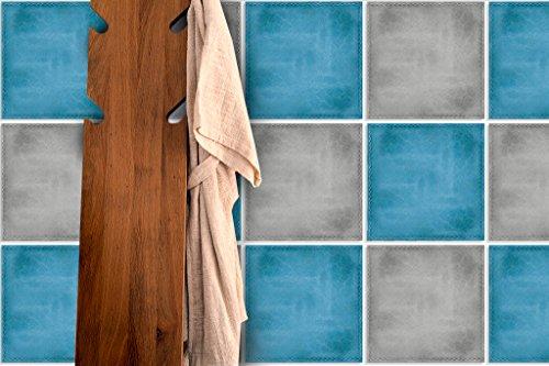 Piastrelle da parete adesivi, decorazione effetto pelle, colore: blu (confezione da 24)