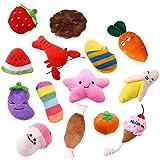 Kuoser 14 Pack Dog Squeaky Toys, Durable Soft Pet Puppy Plush Sound Chew Toy Set para perros pequeños, medianos, gatos, frutas, vegetales, animales, juguete interactivo