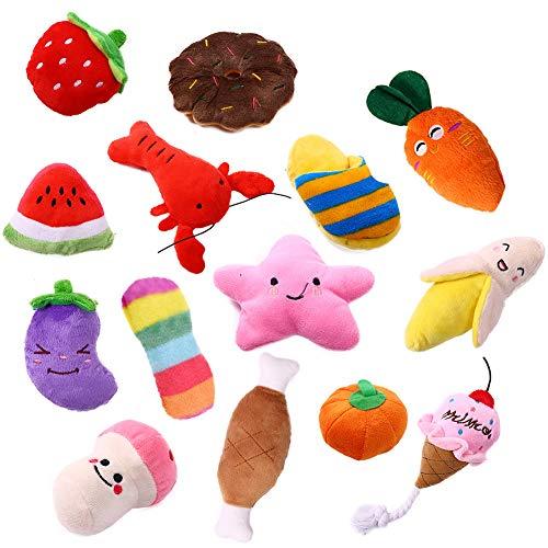 Kuoser 14er Pack Hund Quietschspielzeug, Robustes, weiches Kauspielzeug-Set für kleine, mittelgroße Hunde, Katzen, Obst, Gemüsetiere, Interaktives Spielzeug, Farben variieren
