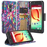[Coverlab] Jitterbug Smart 2 (5.5inch) Case, Folio [Kickstand Feature] PU Leather Flip Wallet Case with ID&Credit Card Slot for Great Call Jitterbug Smart 2 -Rainbow Flower
