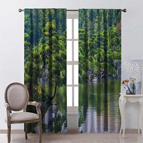Toopeek Japanese Wear-resistant color curtain River Landscape with Trees Flowers Stones Silence in Asian Natural Beauty Garden Theme Waterproof fabric W100 x L84 Inch Green