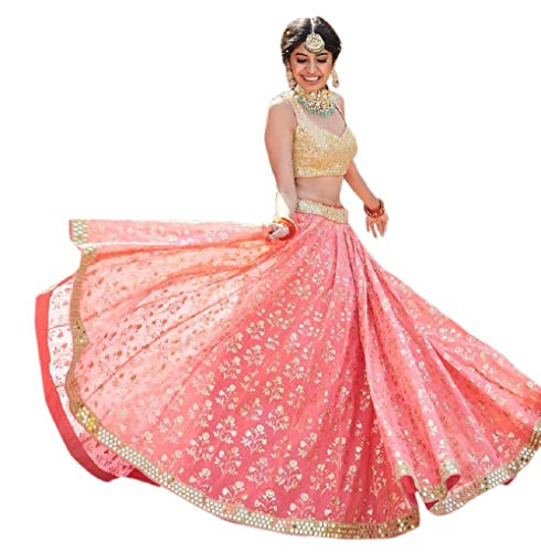 Drashti villa Women's Net & Silk Semi-Stitched Lehenga Choli (sangeet ceremoy_Gajri Pink_Free Size)