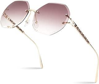 Sunier 2019 New Design Round Rimless Sunglasses For Women Oversized Diamond Cutting Lens 100% UV400 S88