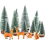 BHGT 14PCS Miniature Noël Village Ornament de Noël Figurines Arbre De Noël Wapiti Ecureuil Mini Paysage Décoration Table Noël