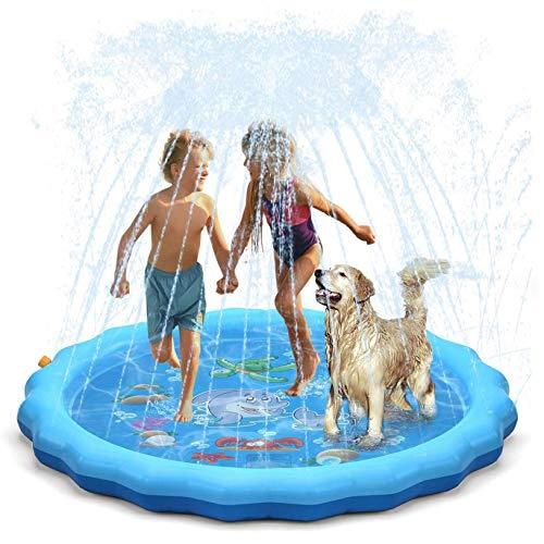 Almohadilla Salpicadura para Niños De 67 Pulgadas, Juegos Divertidos, Piscina De Rociadores Inflable para Niños, Almohadilla Rociado De Agua, Juguetes Agua para Jardín