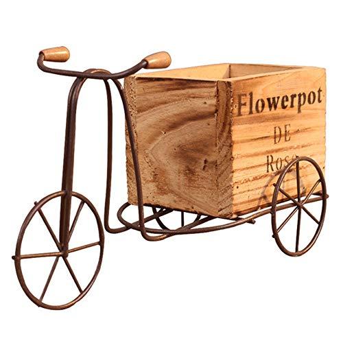 DIYARTS Pastoral Eisen Fahrrad Blumenständer Indoor Schaukeltisch Dreirad Holz Blumentopf Ständer Home Desktop Garten Dekoration