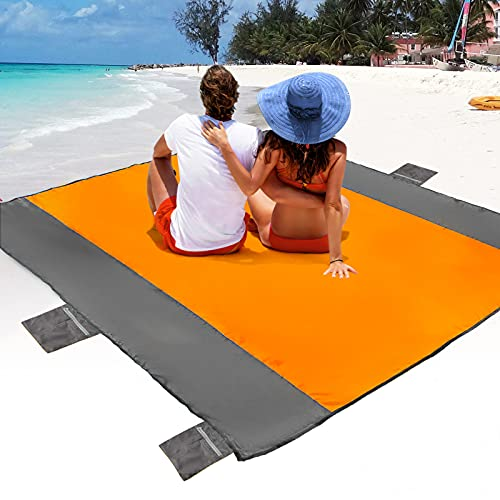 POPCHOSE Sandfree Beach Blanket, Large Sandproof Beach Mat for 4-7 Adults, Waterproof Pocket Picnic Blanket with 6 Stakes, Outdoor Blanket for Travel,...