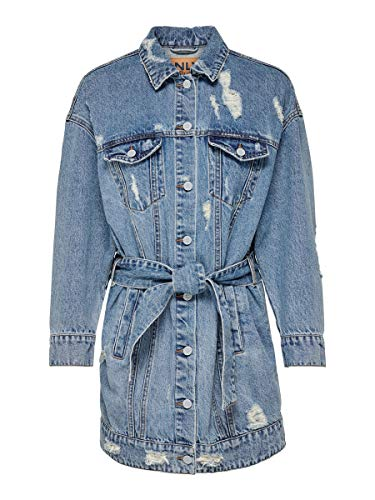 ONLY Female Jeansjacke Lange Bindegürtel 36Medium Blue Denim