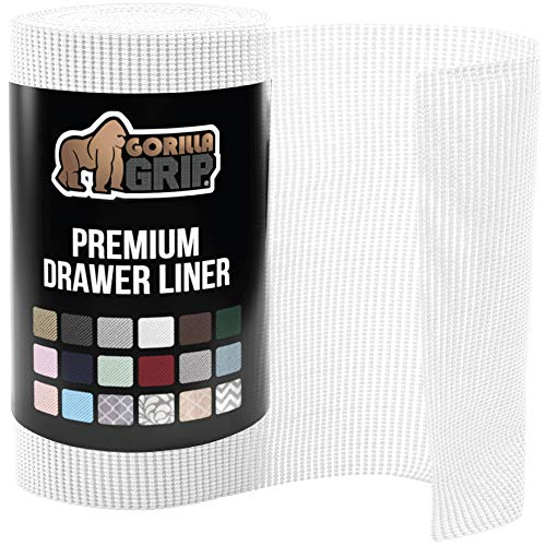 Gorilla Grip Original Drawer and Shelf Liner, Non Adhesive Roll, 17.5 Inch x 20 FT, Durable and Strong, Grip Liners for Drawers, Shelves, Cabinets, Storage, Kitchen and Desks, Snow White