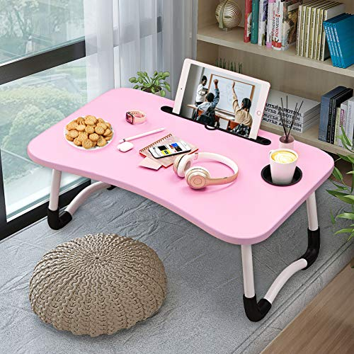 labworkauto Foldable Laptop Table Bed Tray Folding Breakfast Table with Phone Slots for Dormitory Bedroom Kids Pink