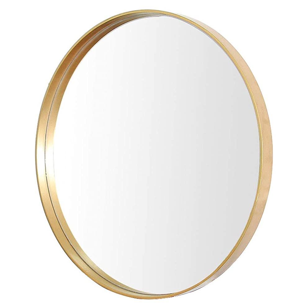 バズ意味する聴覚ラウンド化粧鏡シンプルな金属浴室ガラス装飾的な鏡寝室の壁掛けフィッティングミラー (Color : Gold)