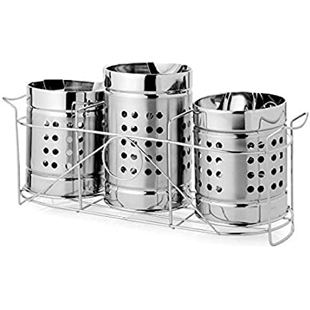 Quality Cops Stainless Steel Spoon Stand Set of 3 | Cutlery Holder with Stand Set of 3