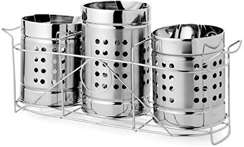 Stainless Steel Spoon Holder & Stand Set of 3 | Cutlery Holder with Stand Set of 3 | Presented by Quality Cops