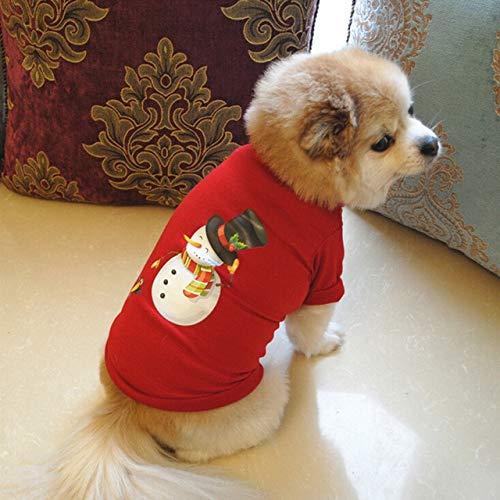 DZSHYXGW Kerst Hond Kleding Polyester T Shirt Puppy Kostuum Kerst Huisdier Kerstman Kleding Puppy Hond Sweater Casual Xs B