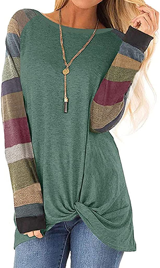Kaitobe Womens Tops Long Sleeve, Women's Round Neck Causal Long Sleeve Tops Loose Soft Striped Tunic Blouse Tops Shirts