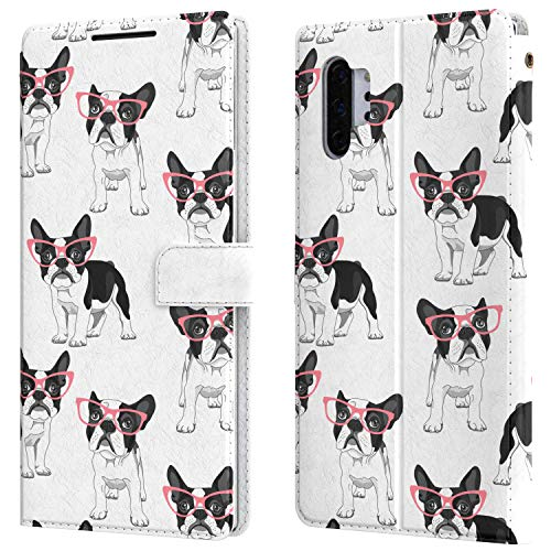 Lex Altern Wallet Case Comatible with Samsung Galaxy Note 20 Ultra S10 Plus S10 5G A20s Holder Flip Boston Terrier Card Folio PU Leather Magnetic Cute French Bulldog Snap Glasses Puppy Cover w0277