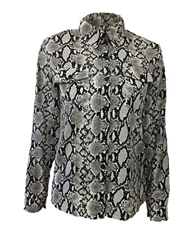 Dames bovenstuk lente, herfst, slangenpatroon, tops, modieus, lange mouwen, V-hals, bloes, schattig, chic, elegant, vintage, met knop, blouse, overhemden