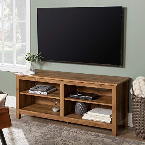 """Walker Edison Furniture Company Simple Wood Contemporary Stand for TV's up to 65"""" Living Room Storage Shelves Entertainment Center, 58"""", Barnwood -  W58CSPBW"""