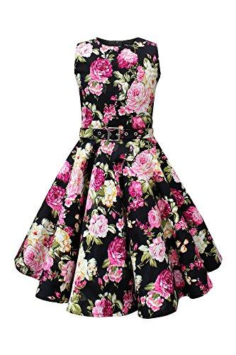 BlackButterfly Kinder 'Audrey' Vintage Divinity Kleid im 50er-Jahre-Stil (Schwarz, 9-10 Jahre)
