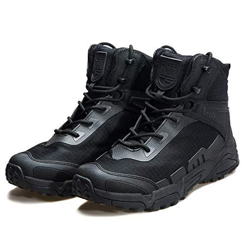 FREE SOLDIER Herren Taktische Stiefel, atmungsaktiv, Militärstiefel, strapazierfähig, Militärstiefel, Arbeitsschuhe, leichte Wanderschuhe (Schwarz, Größe 43)