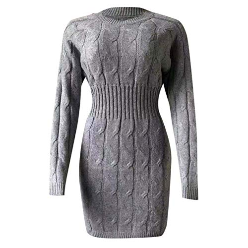 YUANCHENG Women's Dress Solid Casual Long Sleeve O-Neck Knee-Length Dresse,Gray,L steampunk buy now online