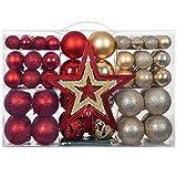 YILEEY Adornos de Navidad Decoracion 101 Piezas Dorado y Rojo, Arboles de Navidad Bolas de Plastico, Caja de Bolas de Navidad de Plástico Inastillable con Percha, Adornos Decorativos