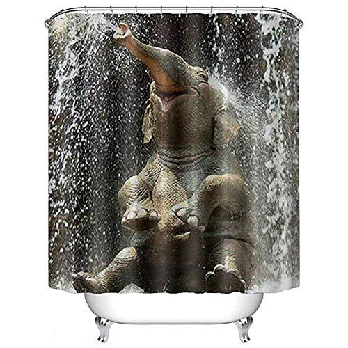 Ciujoy Wasserspray Elefant Duschvorhang 180x180cm, Anti-Schimmel, Anti-Bakteriell, Wasserdicht aus Polyester mit 12 Duschvorhangringen 3D Digitaldruck, Duschvorhänge für Dusche in Badezimmer