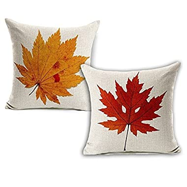 Wonder4 Spring Leaves Decration Pillow Case, Nature Leaves Print looks like falling leaves on Couch Sofa, 2pcs Cotton Linen Sofa Pillow Cushion Case 18 x 18