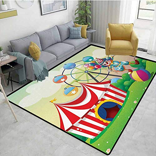 Circus Decor Modern Area Rug Illustration of a Clown Balancing Above an Inflatable Ball at The Carnival Anti-Static W71 x L82 Multicolor