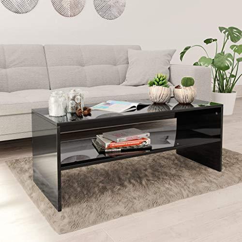 Lechnical Mesa de Centro Negro de Alto Brillo 100 × 40 × 40 cm Mesa de televisión Mesa de salón Mesa de café Mesa de Centro de aglomerado