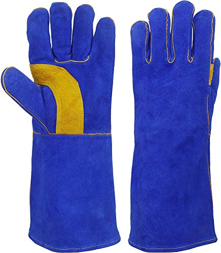 Leather Forge Welding BBQ handskar, 36 grader F värme/brandbeständig för öppen spis spis ugn grill svetsning BBQ 36 cm / 14 tum