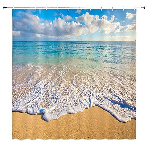 XCBN Cortina de Ducha de Paisaje Marino de Playa soleada, partición de baño, Cortina de Ducha de separación Seca y húmeda, Cortina Colgante M6 180x180cm