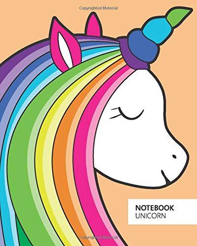 Unicorn Notebook - Ruled Pages - 8x10 Notizbuch - Large (Orange)