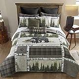 Donna Sharp - Set di biancheria da letto king size, 3 pezzi, con motivo a orsi, con trapunta e federe per cuscini, lavabile in lavatrice
