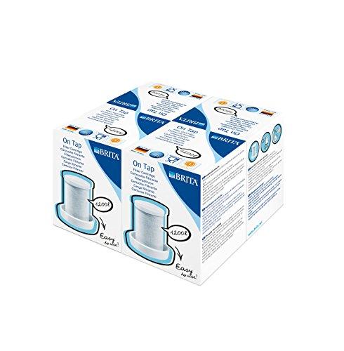 BRITA On Tap Filtro de agua para grifo – 4 Cartuchos de recambio para el sistema de filtración On Tap – 12 meses de agua filtrada