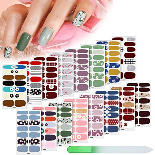 224 Pieces 16 Sheets Full Nail Wraps Nail Polish Stripes Nail Art Polish Stickers Self-Adhesive Nail Art Decals with Nail File Manicure Kit for Women Girls DIY Nail Art (Fresh Floral Series)