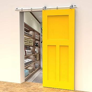 CCJH 5FT-153cm Herraje para Puerta Corredera Kit de Accesorios para Puertas Correderas Rueda Riel Juego para Una Puerta de Madera/Cristal: Amazon.es: Bricolaje y herramientas