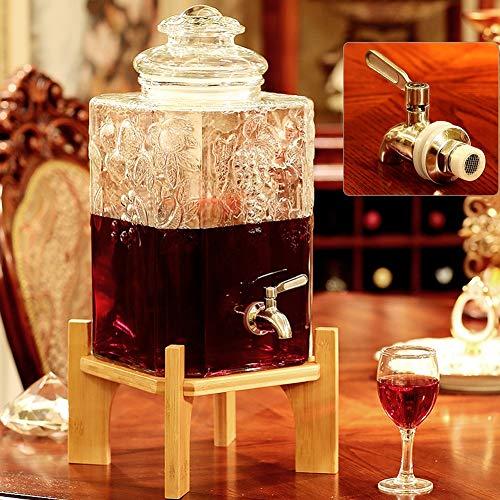 Drankdispenser, pot van glas, transparant, met drankdispenser van roestvrij staal, vlechtwerk, glas, voor de horeca, buffet of voor gebruik thuis. Bamboo base 18l(a)