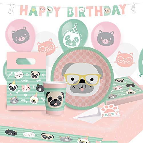 amscan 9907565 - Set de Fiesta de Hello Pets, 8 Platos, 8 Vasos, 20 servilletas, Mantel de Papel, Guirnalda, 8 Bolsas, 8 Invitaciones, 6 Globos de látex