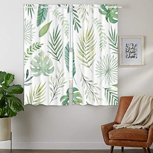 YISUMEI Rideau occultant isolant thermique pour chambre à coucher salon, motif feuilles de palmier vertes, 2 panneaux