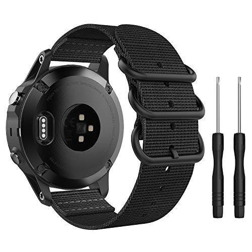 MoKo Reloj Correa Compatible con Garmin Fenix 6/6 Pro, Fenix 5S/5S Plus, Respirable y Reemplazable Pulsera Deportivo de Reloj de Nylon - Negro