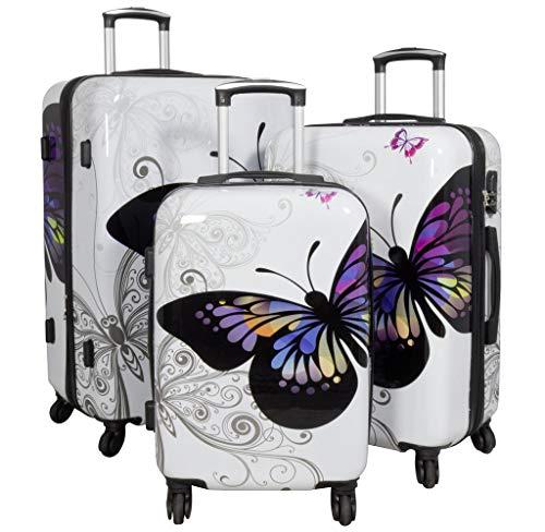 Trendyshop365 Koffer-Set Hartschale Schmetterling 3-teilig 4 Räder Weiß Printdesign Zahlenschloss