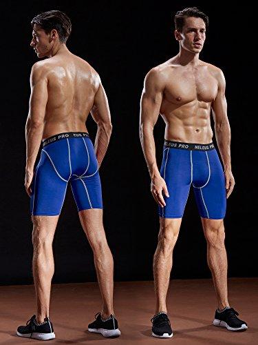 Neleus Men's 3 Pack Compression Short,047,Black,Grey,Blue,US M,EU L