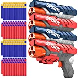 POKONBOY 4 Pack Blaster Guns Compatible with Nerf Guns Bullets, Toy Guns for Boys Girls with 100 Pack Foam Refill Darts, Hand Gun Toys for 5 6 7 8 Year Old Kids Christmas
