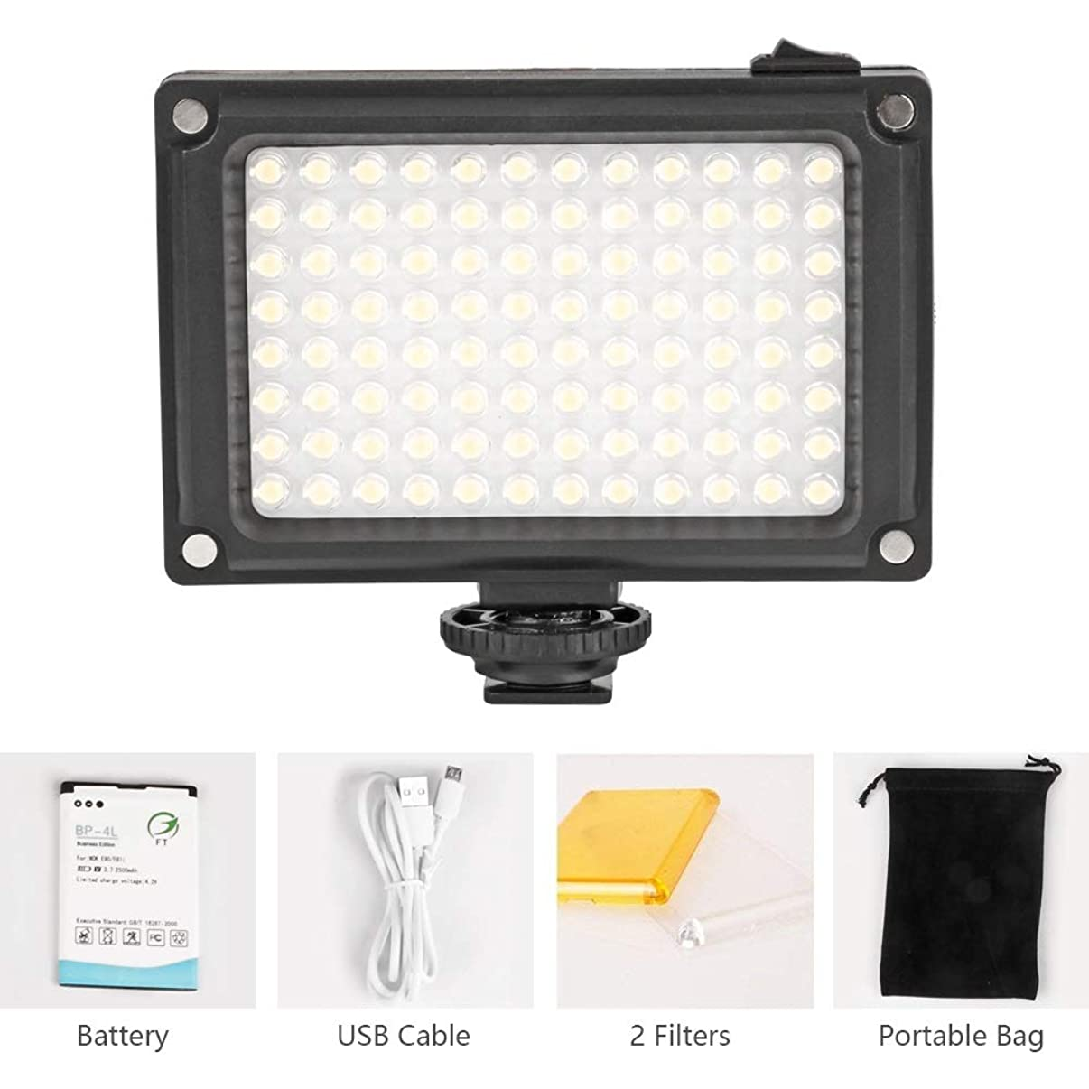 Rechargeable 96 LED Video Light Ultra Bright Camera/Camcorder Lighting Panel for Cannon Nikon Sony, Phones and other DSLR Cameras