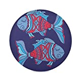 Nigel Round Placemats for Dining Table Mat for Kitchen Tables Heat Resistant Thick 6 Piece Colorful Two Fish