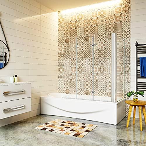 Aica Sanitär Badewannenaufsatz Eck Duschwand Badewanne 3-tlg.Faltwand mit Seitewand 6mm Nano Glas H140cm