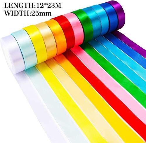 12 rollos de cinta de satén de color de 300 yardas, 12 rollos (25 mm de ancho), cinta de satén de cinta para adornar lazos para manualidades, regalos, fiestas, bodas y decoración