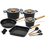 palm restaurant cookware ceramic - Ceramic Cookware Set Non-Stick Dishwasher Safe Scratch Resistant 100% PFOA Free Induction Aluminum Pots and Pans Set with Cooking Utensil Pack -13 - Black